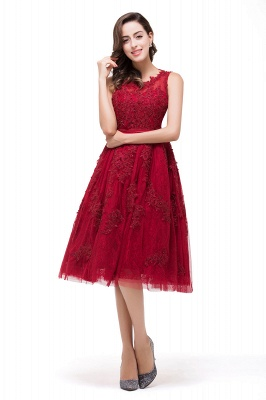 DANA | A-Line Knee-Length Red Lace Tull Prom Dresses with sequins_6