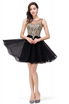 ESTRELLA | A-line Crew Short Sleeveless Appliques Prom Dress_11