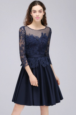CARA | A-line Sheer Neck Short Dark Navy Homecoming Dresses with Lace Appliques_6