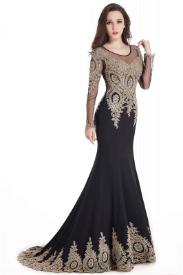 Crystal | Sexy Mermaid Lace Appliques Long Sleeves Prom Dresses with Beadings_7