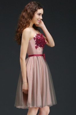 CLAUDIA | Princess Strapless Knee-length Tulle Homecoming Dress with a Self-tie Belt_7