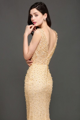 ALLIE | Mermaid Scoop Sweep Train Champagne Evening Dresses with Beadings_5
