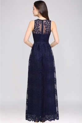 CHAYA | Sheath V-neck Floor-length Lace Navy Blue Prom Dress_11