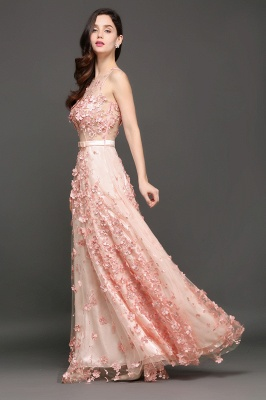 ALLY | A-line Floor Length Pearl Pink Evening Dresses with Appliques_3
