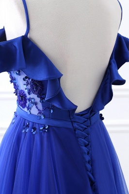 CHANEL | Ball Gown Off-the-shoulder Floor-length Blue Tulle Prom Dress_7