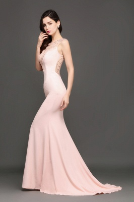 ALIZA | Mermaid Sweep Train Pearl Pink Prom Dresses with Crystal_7