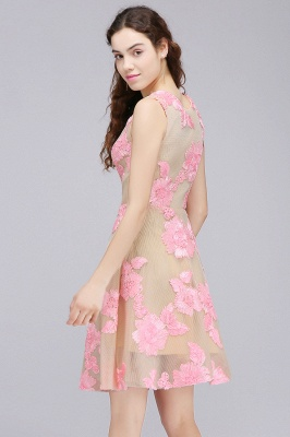 CORDELIA   Princess Knee-length Tulle Homecoming Dress with Pink Lace Appliques_6