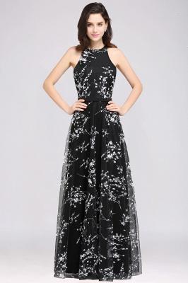 ALYSSA | A-line Floor Length Black Evening Dresses with Flowers_3