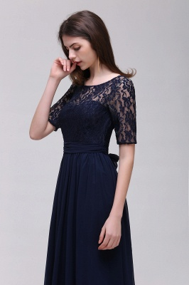 AUBRIELLE | A-line Scoop Chiffon Elegant Prom Dress With Lace_5