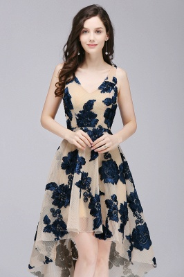 Short Appliques Tulle V Neck Prom Dresses_5