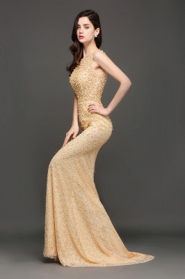 ALLIE | Mermaid Scoop Sweep Train Champagne Evening Dresses with Beadings_6