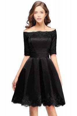 ELSIE | A-line Off-shoulder Half Sleeves Short Lace Appliques Prom Dresses_5