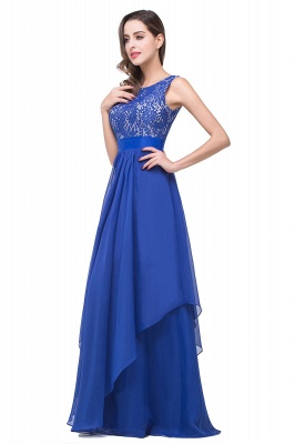 ADDISON | A-line Floor-length Chiffon Evening Dress with Lace_8