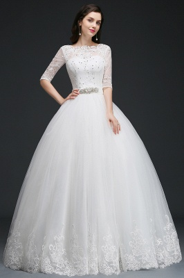 AMERICA | Ball Gown Floor Length Tulle Glamorous Wedding Dresses with Lace