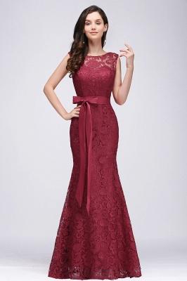 Floor-Length Sleeveless Burgundy Bowknot-Sash Mermaid Lace Prom Dresses_2