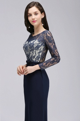 ALICE | Mermaid Jewel Navy Blue Lace Long Evening Dresses With Sleeve_7