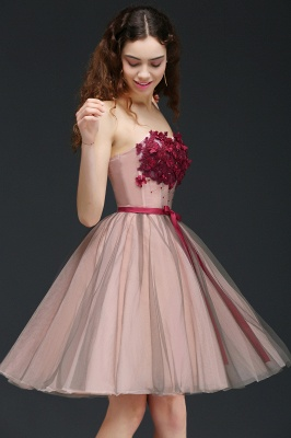 CLAUDIA | Princess Strapless Knee-length Tulle Homecoming Dress with a Self-tie Belt_6