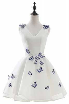 Custom Made A-line Cute White Short Homecoming Dresses With Butterfly_1