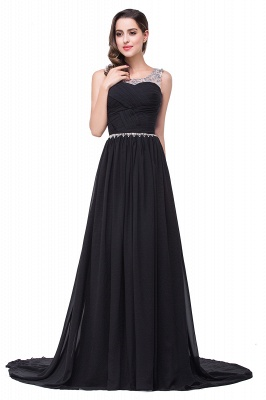 AIMEE | A-line Court Train Chiffon Party Dress With  Beading_5