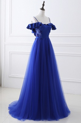 CHANEL | Ball Gown Off-the-shoulder Floor-length Blue Tulle Prom Dress_4