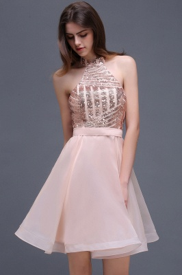 ALAYAH | A Line Halter Organza Short Homecoming Dresses With Sequins_6