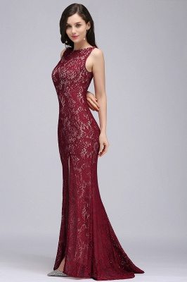 DULCE | Mermaid Crew Floor-length Sleeveless Burgundy Lace Prom Dresses_6