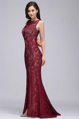 DULCE | Mermaid Crew Floor-length Sleeveless Burgundy Lace Prom Dresses_6