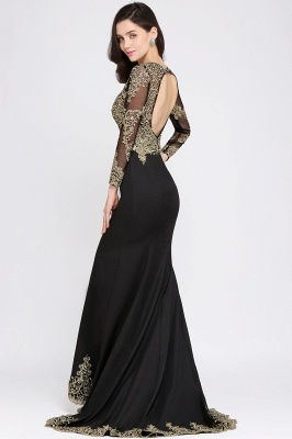 AMANDA | Mermaid Scoop Floor Length Black Elegant Evening Dresses with Appliques_4