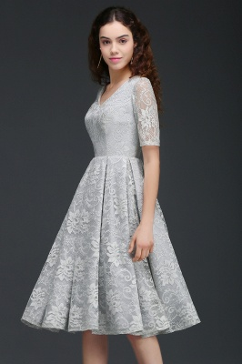 ALEXANDRA | A Line V Neck Lace Short Homecoming Dresses With Sleeves_2