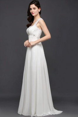 AYLA | A-line Sweetheart Chiffon White Evening Dress With Lace_5