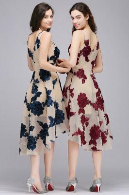 Short Appliques Tulle V Neck Prom Dresses_8