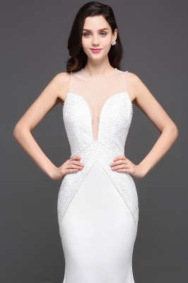 AVERY | Mermaid Scoop Chiffon White Evening Dress With Beadings_8