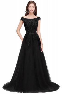EMBER   A-line Off-shoulder Floor-length Tulle Appliques Prom Dresses_4