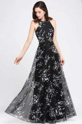 ALYSSA | A-line Floor Length Black Evening Dresses with Flowers_2