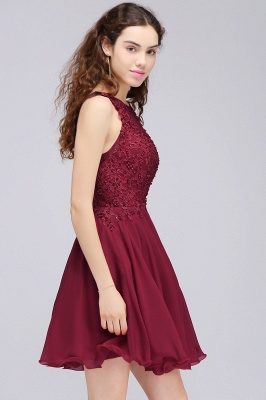 CARLEE | A-line Jewel Short Chiffon Burgundy Homecoming Dresses with Lace Appliques_6