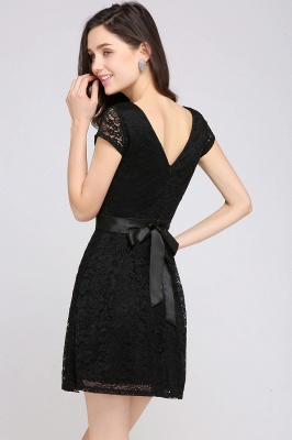 ARMANI | A-line Scoop Black Lace Cheap Homecoming Dress with Sash_12