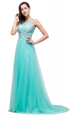 ABRIL | A-line Court Train Tulle Evening Dress with Appliques_11