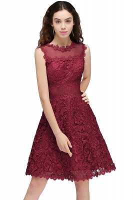 BRIA | A-Line Round Neck Short Burgundy Lace Homecoming Dresses_1
