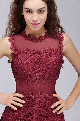 BRIA | A-Line Round Neck Short Burgundy Lace Homecoming Dresses_6