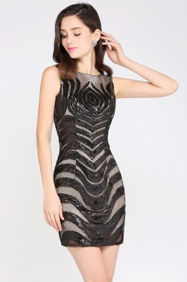 AMALIA   Sheath Short Black Sexy Cocktail Dresses_5