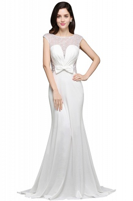 AYLEEN | Mermaid Scoop White Chiffon Evening Dress With Beadings