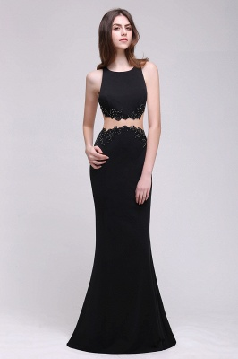 BLAKELY | Sheath Round Neck Floor-Length Black Prom Dresses With Crystal_4