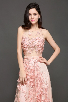 ALLY | A-line Floor Length Pearl Pink Evening Dresses with Appliques_4