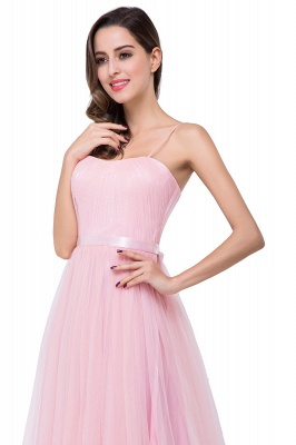 Simple Spaghetti-Straps Ruffles A-Line Pink Open-Back Evening Dress_12