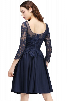 CARA | A-line Sheer Neck Short Dark Navy Homecoming Dresses with Lace Appliques_3