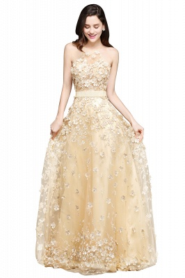 ALIYAH | A-line Floor Length Champagne Evening Dresses with Appliques_1