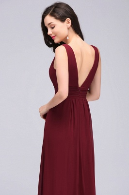 ALEXA | Sheath V Neck Burgundy Chiffon Long Evening Dresses_6