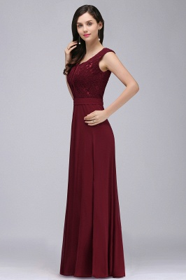 CORINNE | A-line Floor-length Lace Burgundy Elegant Prom Dress_8
