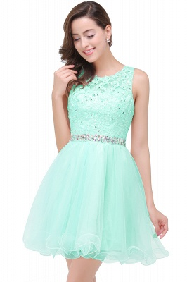 ABBY | A-line Knee-length Tulle Prom Dress with Appliques&Crystal_7