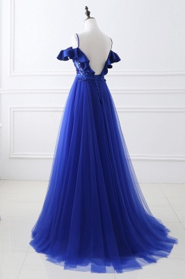 CHANEL | Ball Gown Off-the-shoulder Floor-length Blue Tulle Prom Dress_6